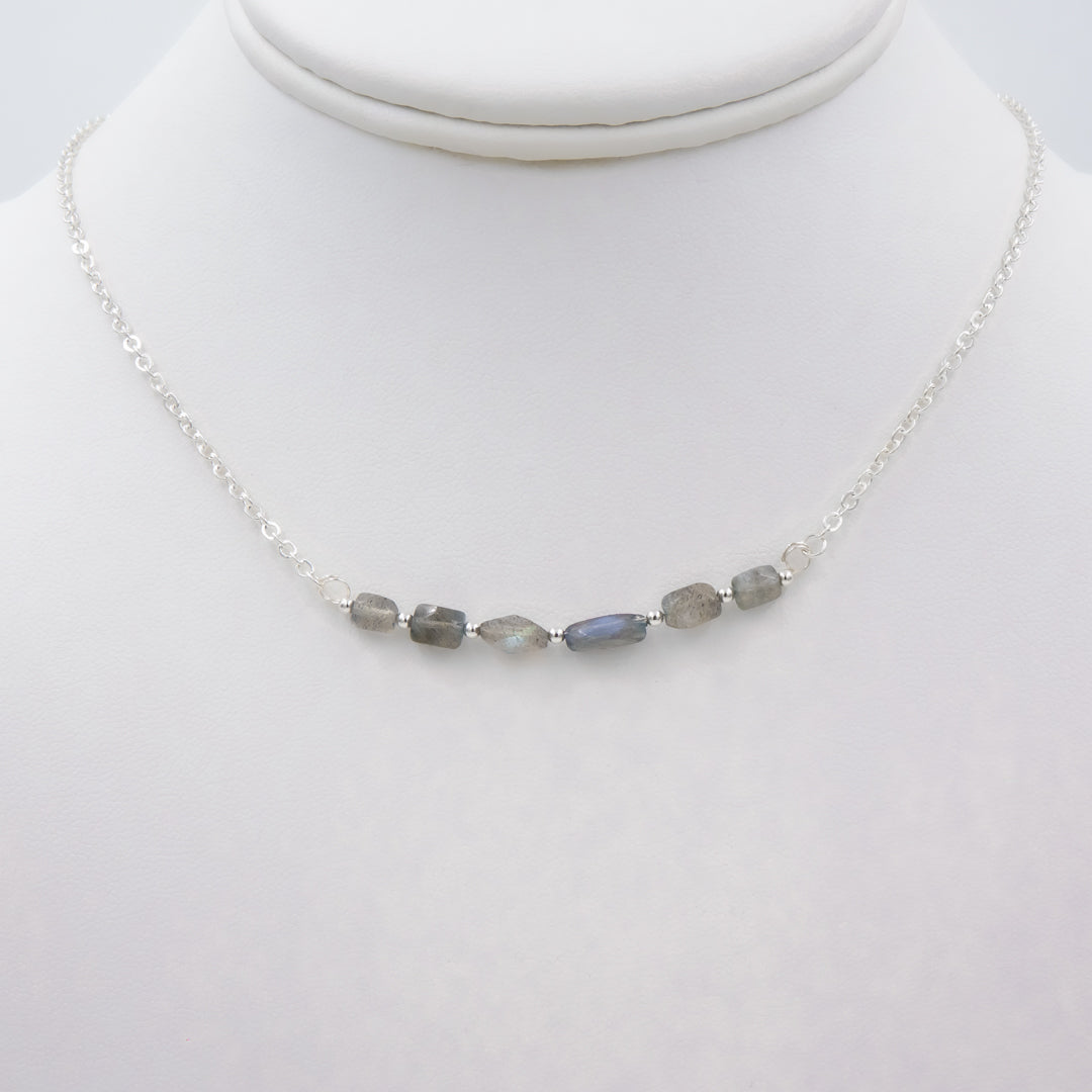 Blue Flash Labradorite Silver Necklace Handmade