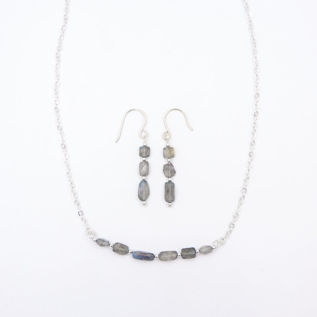 Blue Flashes Labradorite ~ Necklace & Earring Set