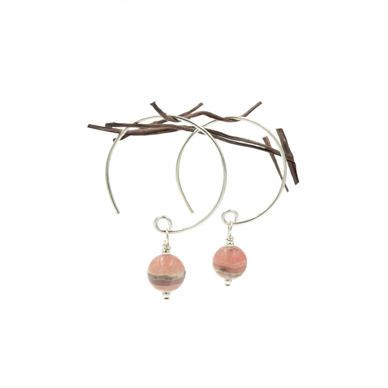 Rhodochrosite Hoop Curve Sterling Silver Earrings