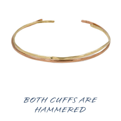 Handmade hammered copper brass bangle cuff pair