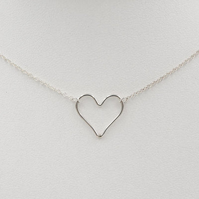 Delicate Heart Sterling Silver Handmade Necklace Closeup