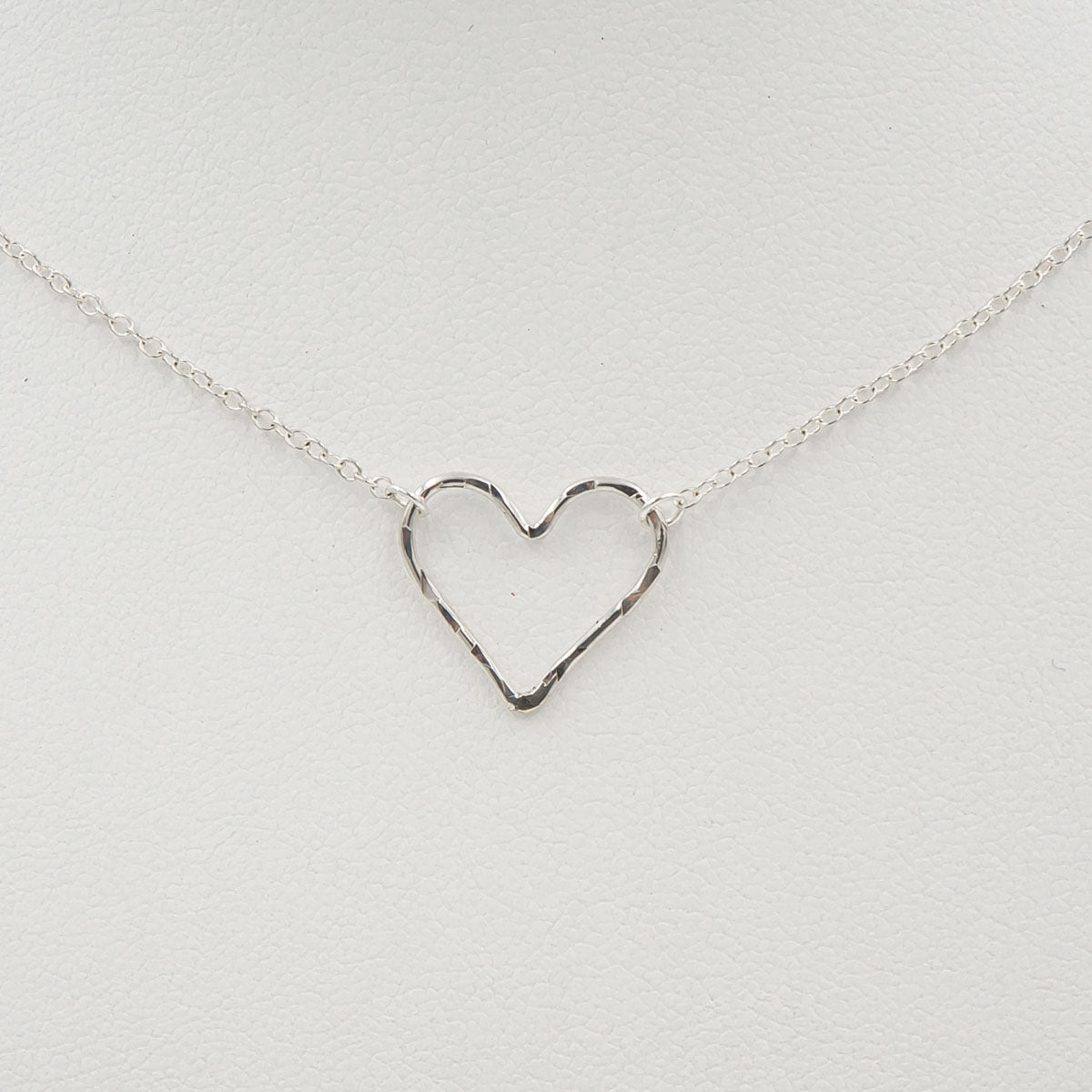 Hammered Heart Sterling Silver Handmade Necklace Closeup