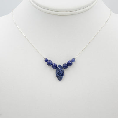 Marquise Sodalite Silver Necklace