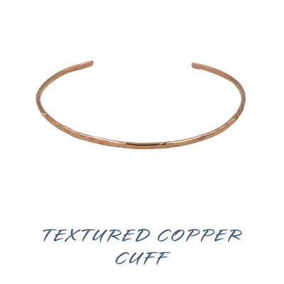 Handmade textured copper bangle cuffs