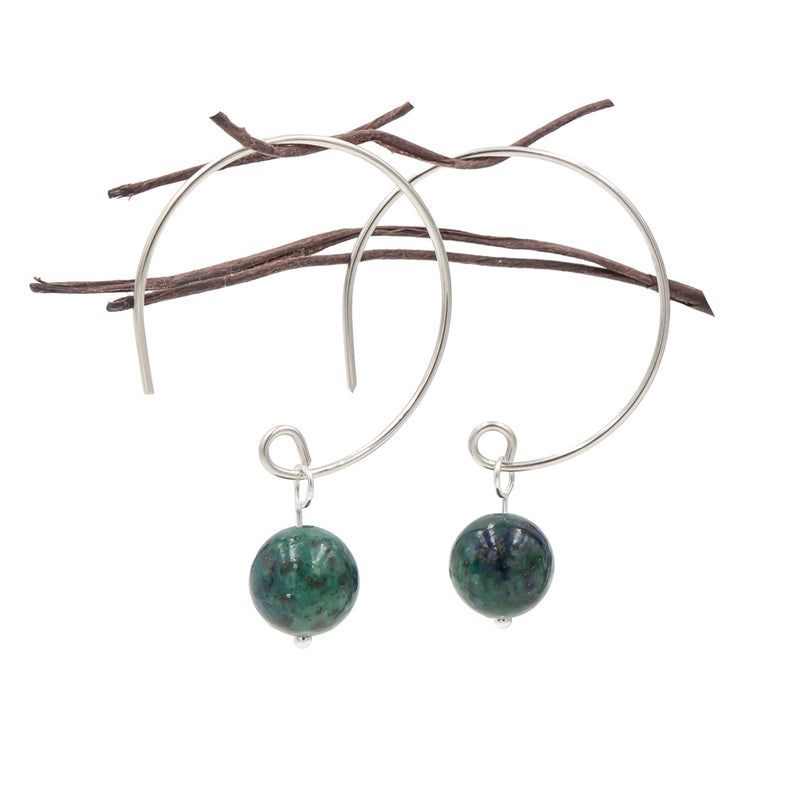 Azurite Hoop Argentium Sterling Silver Earrings Handmade