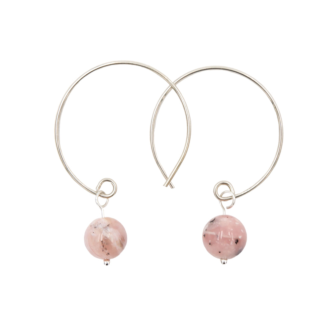 Pink Peruvian Opal Hoop Argentium Sterling Silver Earrings