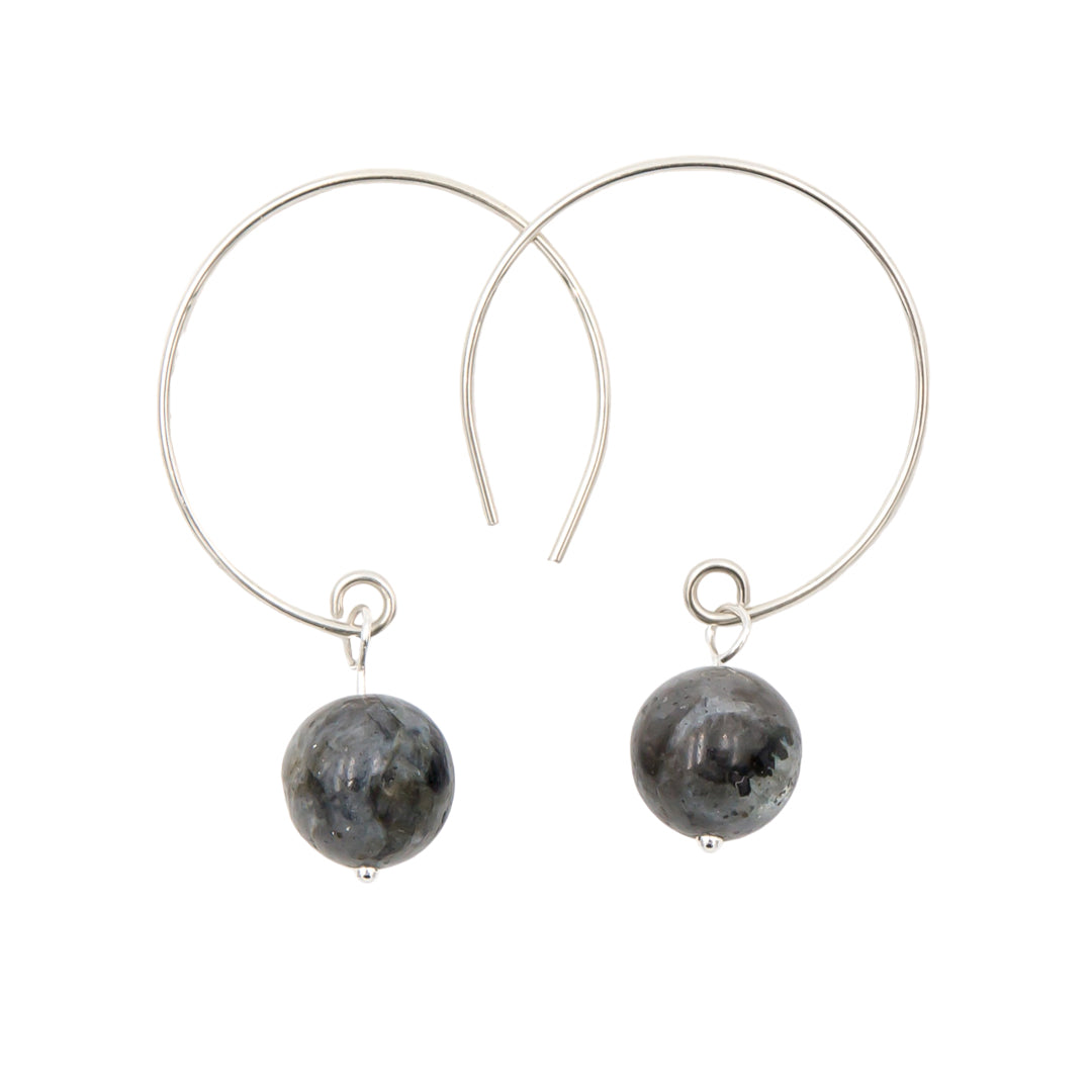 Black Moonstone Labradorite Hoop Curves Sterling Silver Earrings