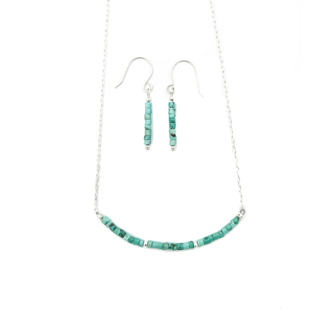 Turquoise On Silver Necklace & Earrings Set
