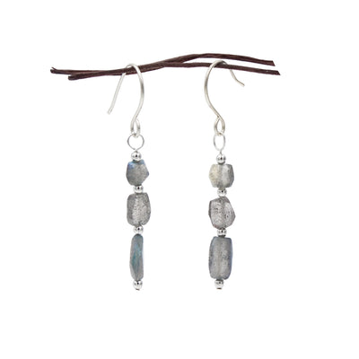 Earth Song Jewelry Blue Flash Labradorite Sterling Silver Earrings Handmade