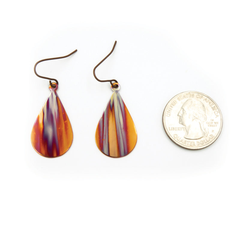 Blue Streaks ~ Hand Torched Flame Earrings