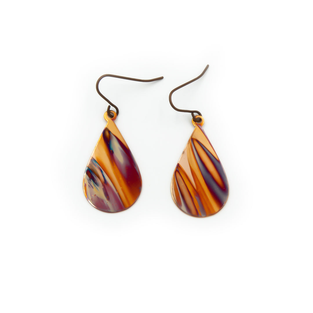 Fire Hand Torched Earrings - Handmade Flame Painted in Colorado
