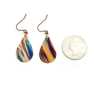 Purple & Blue ~ Handmade Torched Flame Painting Earrings  Sizing