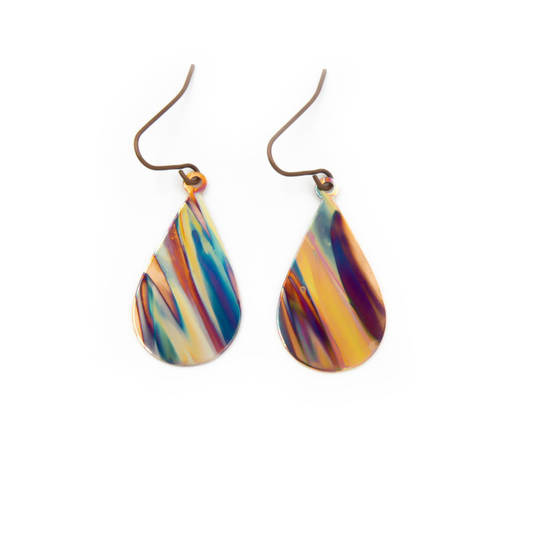 Purple and Blue ~ Hand Torched Flame Earrings