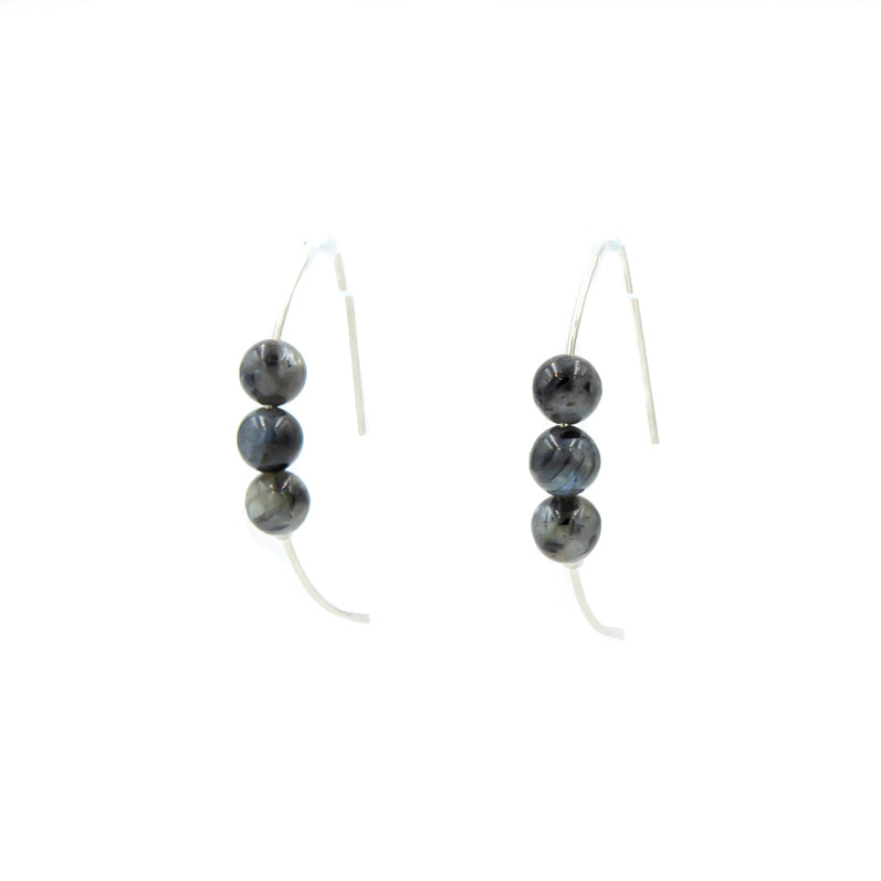 Handmade larvikite sterling silver curves earrings