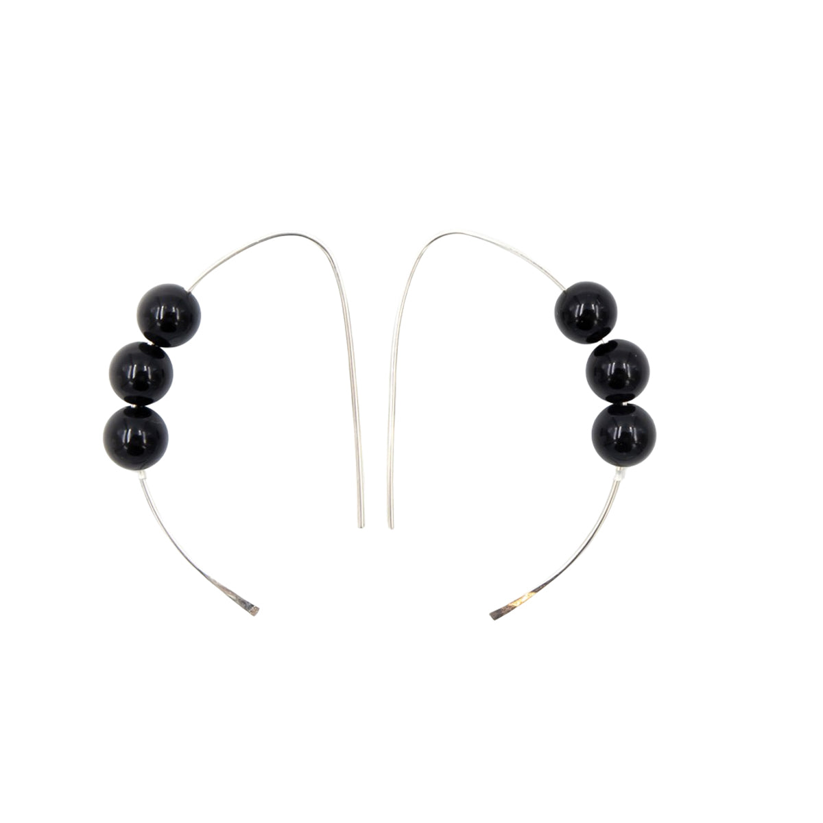 Handmade onyx sterling silver curves earrings