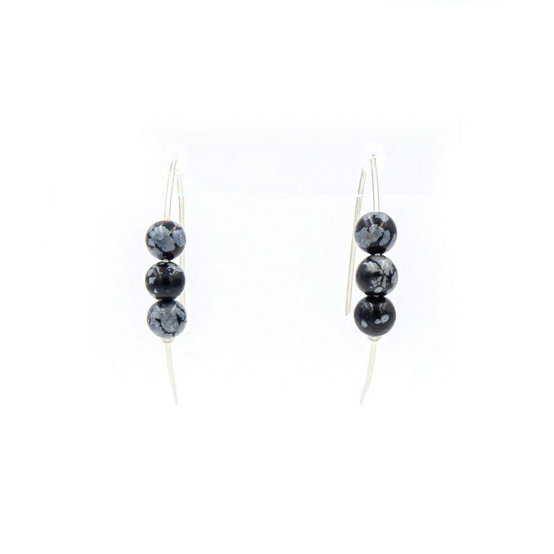 Handmade snowflake obsidian sterling silver curves earrings