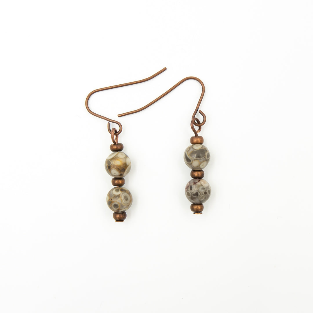 Handmade Fossils On Copper Earrings Hanging
