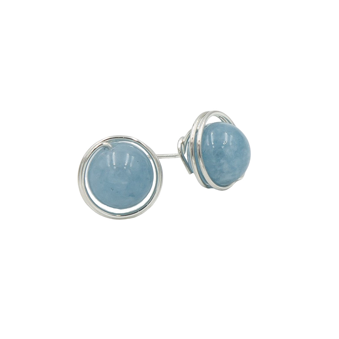 Sterling Silver Aquamarine Post Earrings ~ Handmade