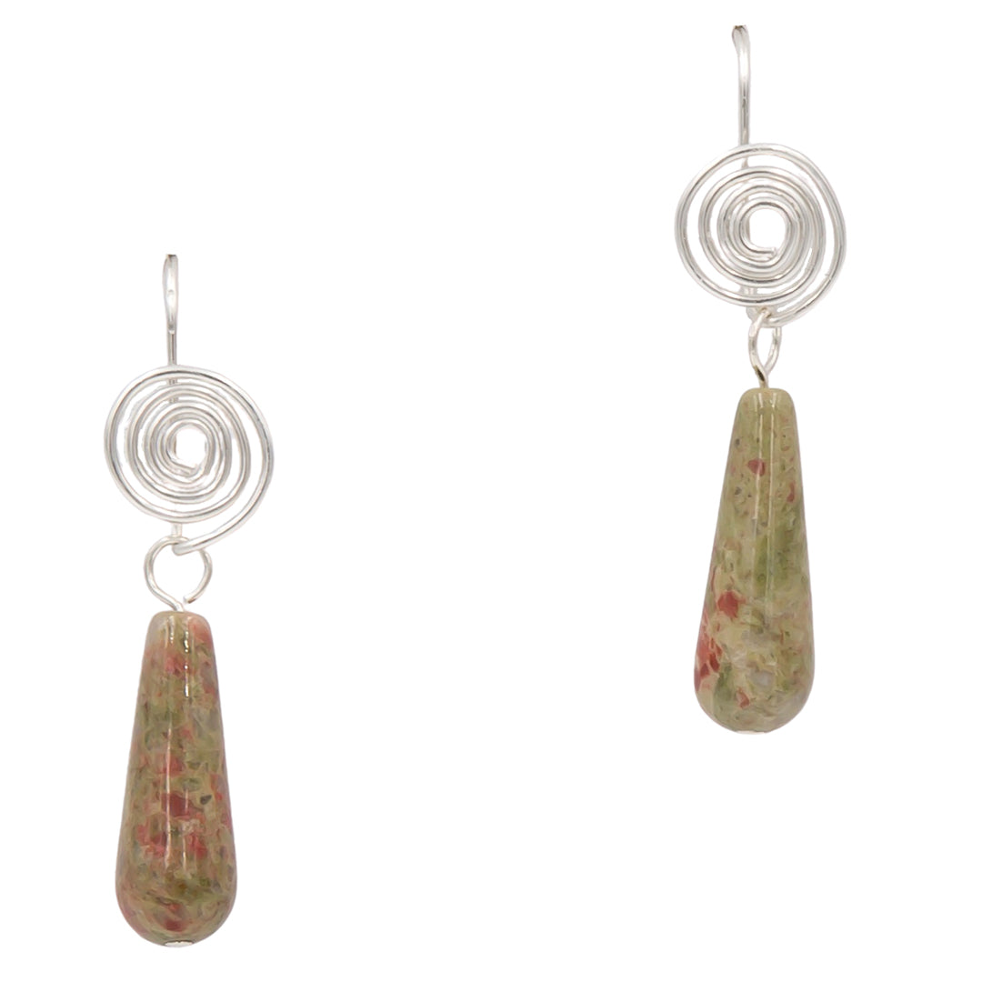 Handmade Unakite Sterling Silver Coil Earrings Interchangeable