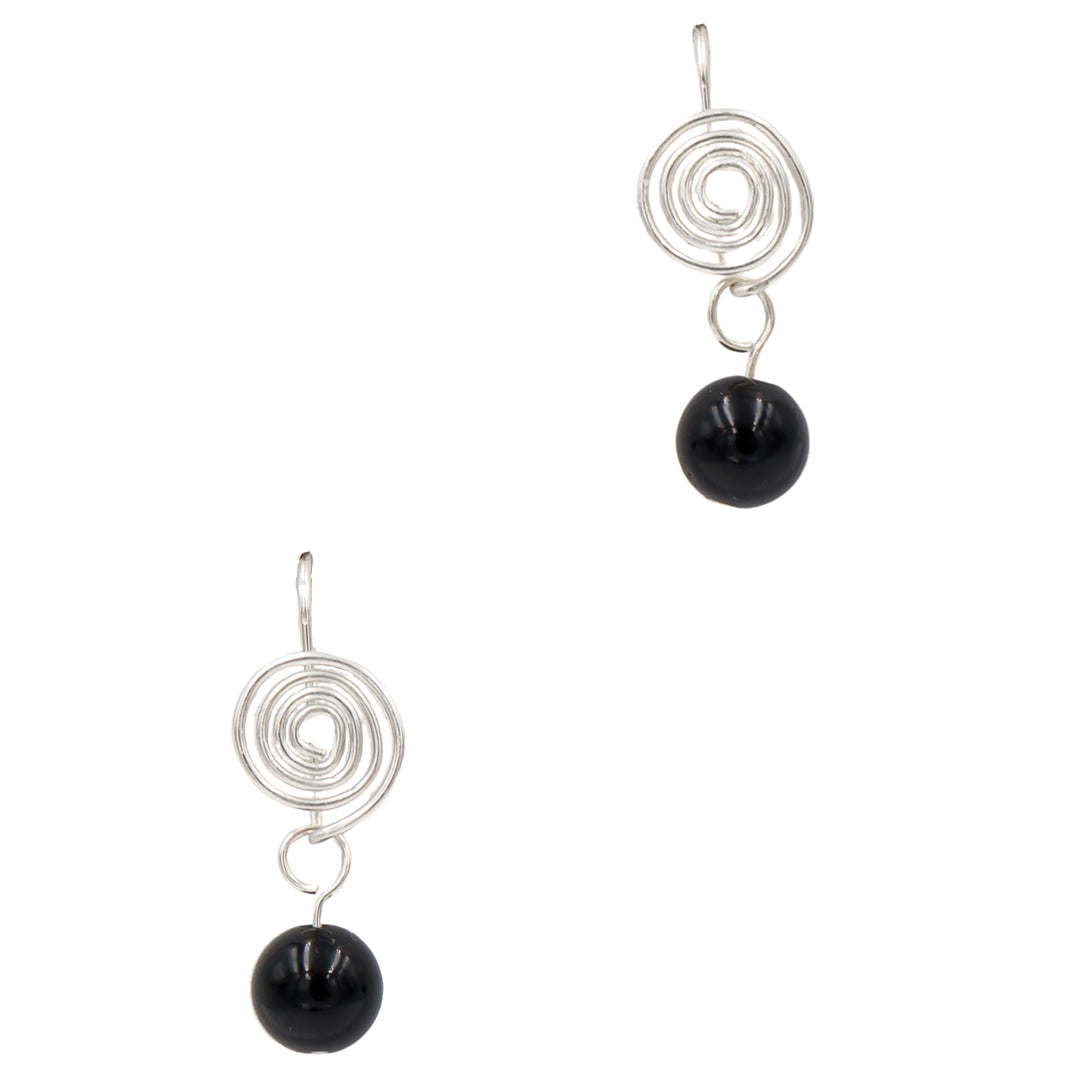 Handmade Onyx Sterling Silver Interchangeable Coils Earrings