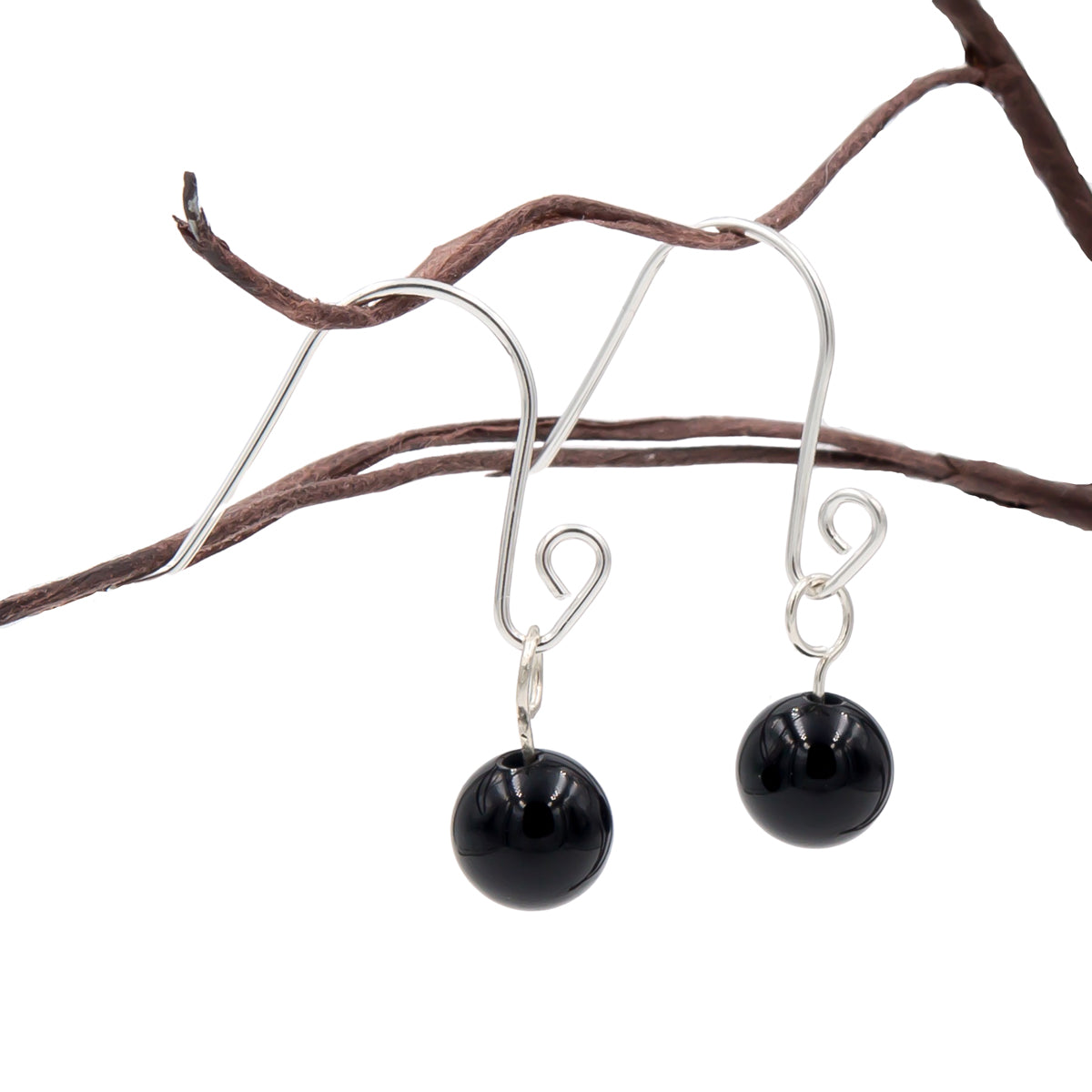 Handmade Onyx Spiral Loops Interchangeable Sterling Silver Earrings