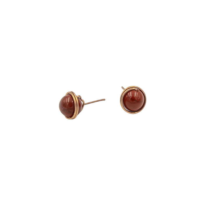 Handmade Red Jasper Copper stud post earrings