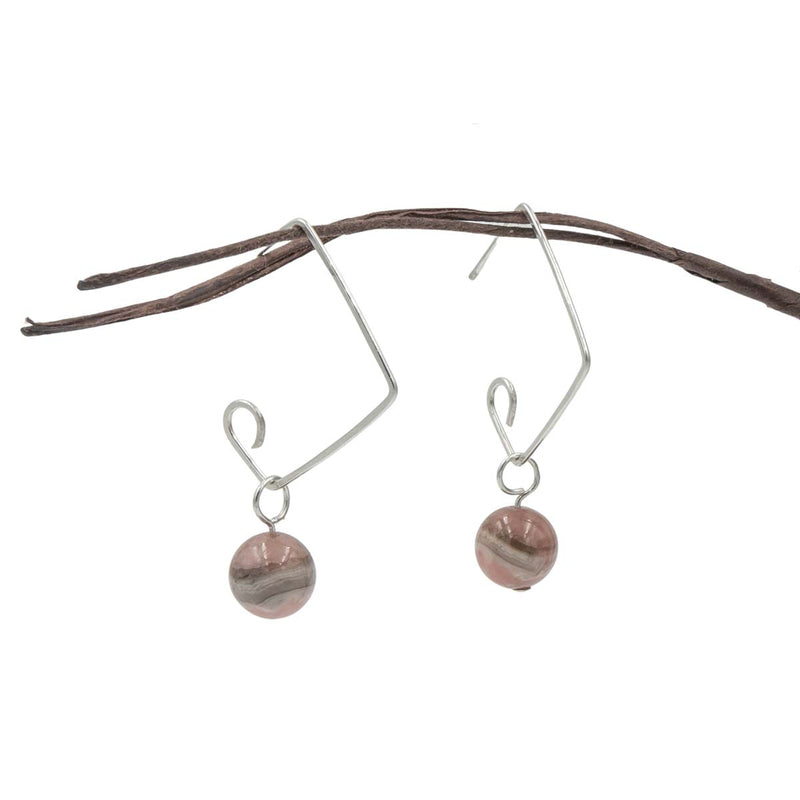 Hammered Sterling silver modern square earrings with rhodochrosite - colorado's state mineral