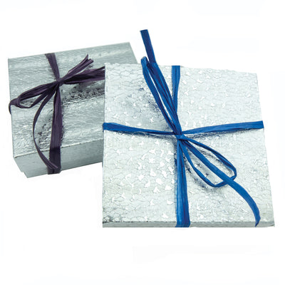 Silver Gift Box With A Ribbon