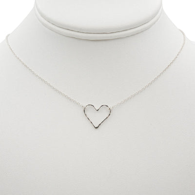 Hammered Heart Sterling Silver Handmade Necklace