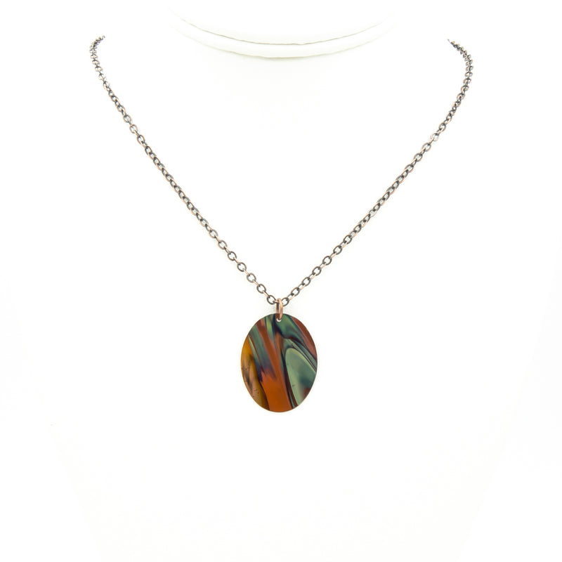 The Blue Oval Flame Necklace