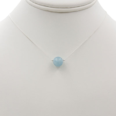 Handmade Sterling Silver Aquamarine Solitaire Necklace hanging