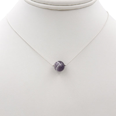 Handmade Amethyst solitaire sterling silver necklace on bust