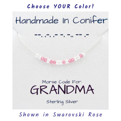 GRANDMA Morse Code Sterling Silver Necklace