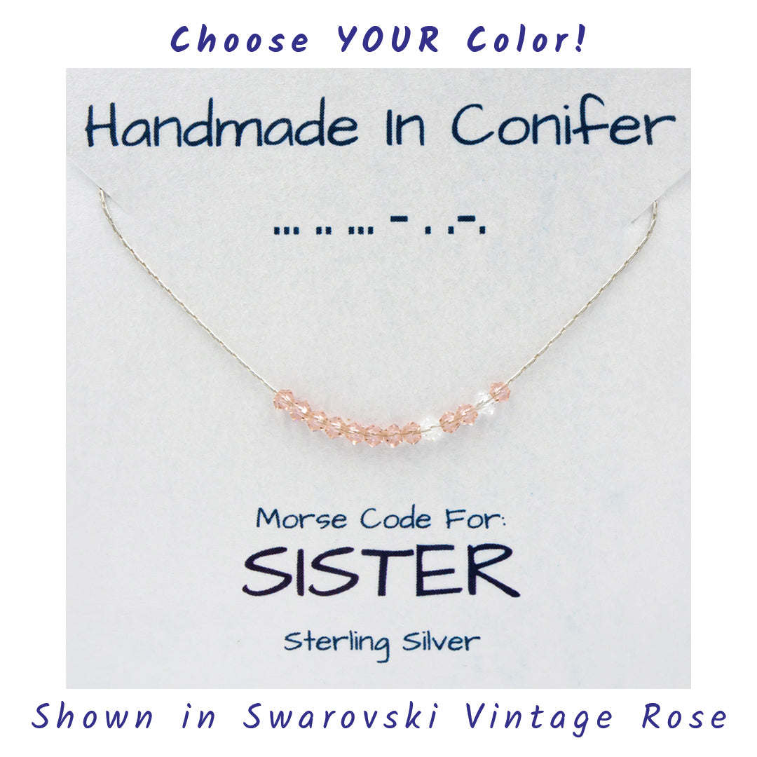 SISTER Morse Code Sterling Silver Necklace