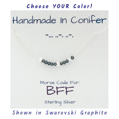 BFF Morse Code Sterling Silver Necklace