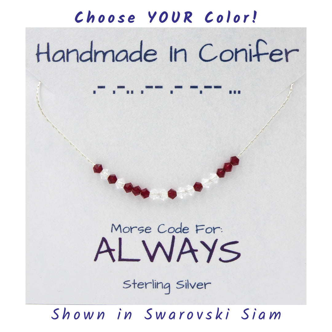 ALWAYS Morse Code Sterling Silver Necklace