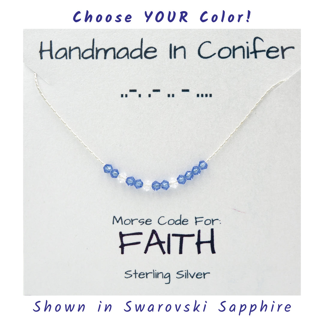 FAITH Morse Code Sterling Silver Necklace
