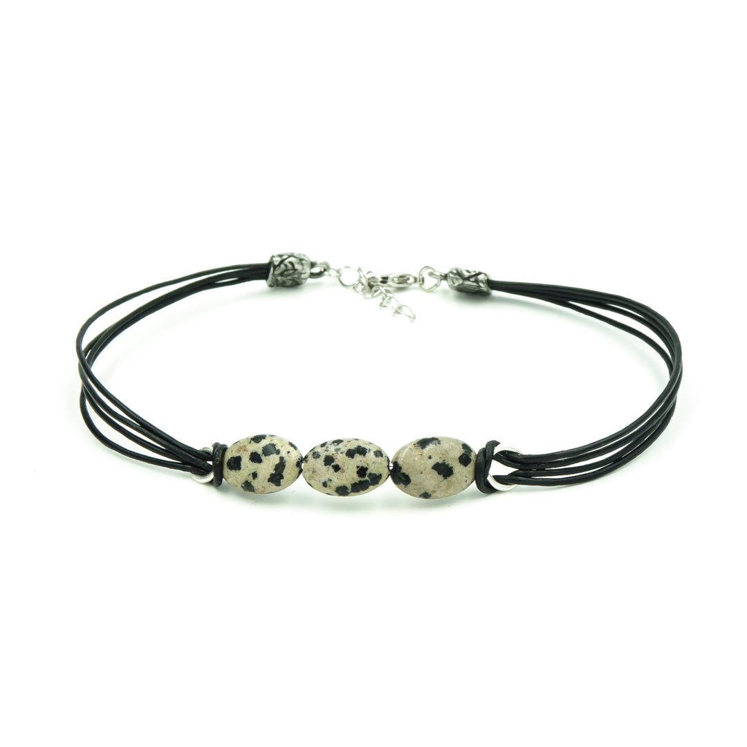 Dalmatian Jasper On Leather