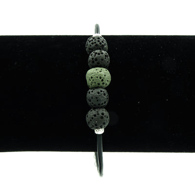 Handmade Lava Stone On Greek Leather Bracelet - Perfect Gift For Dad!