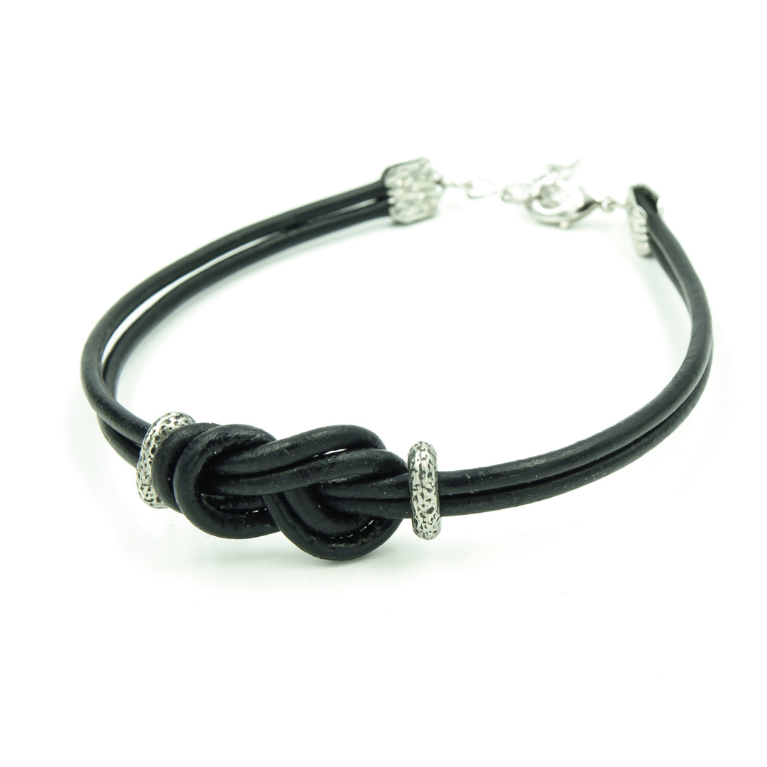 Men's Black Greek Leather Infinity Knot Bracelet -Perfect Gift For Dad