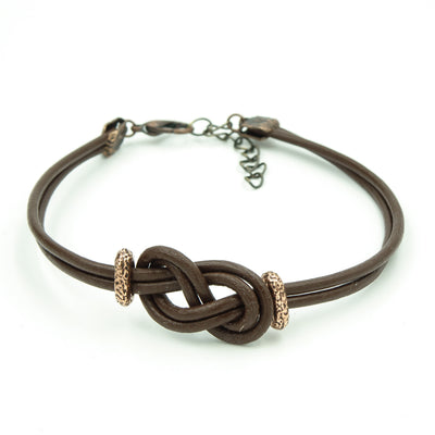 Men's Brown Greek Leather Infinity Knot Bracelet -Perfect Gift For Dad