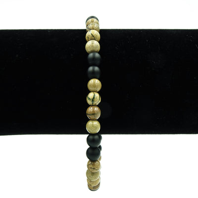 Handmade Verdite And Black Agate Bracelet - The Perfect Gift For Dad!