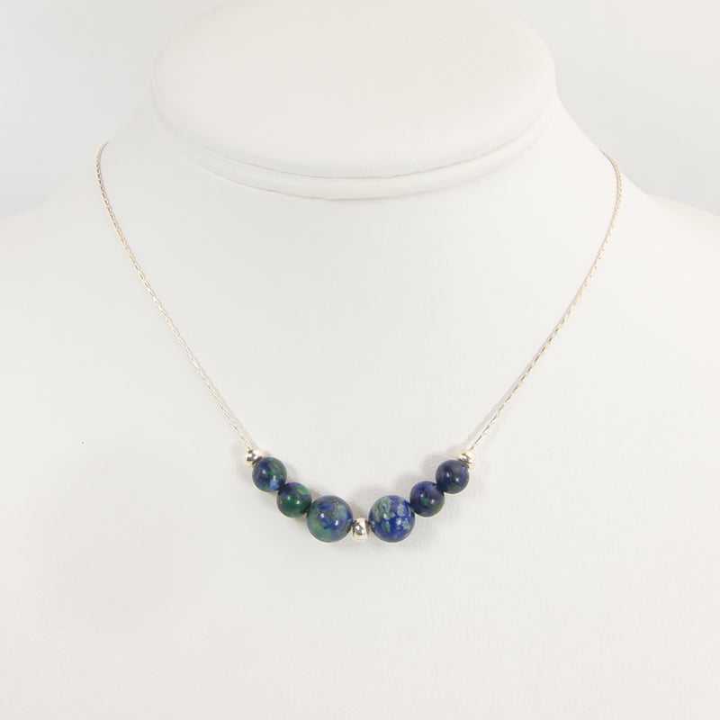 Earth On A Silver Necklace - Azurite Earth Song Jewelry