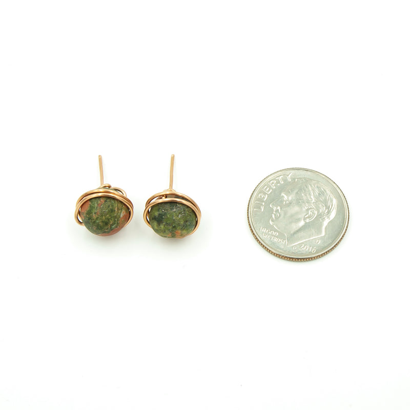 Copper Wrapped Unakite Stud Post Earrings ~ Handmade