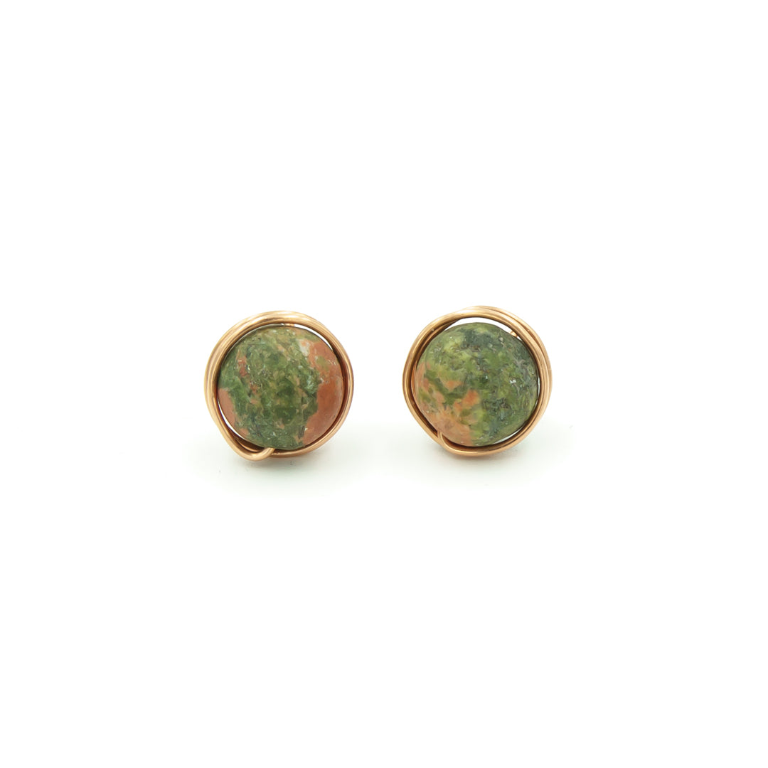 Copper Wrapped Unakite Nests