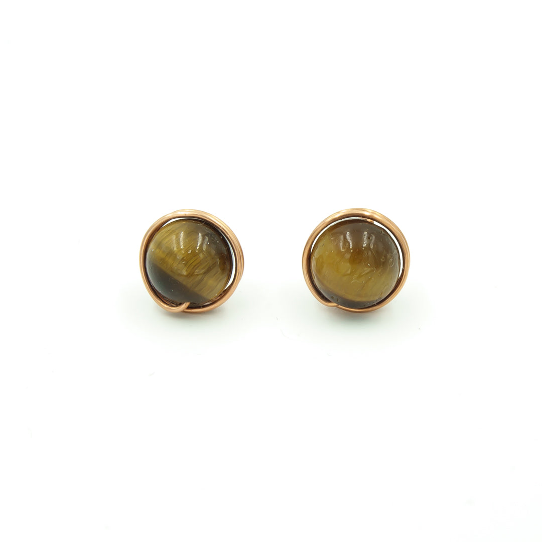Copper Wrapped Tigereye Stud Post Earrings