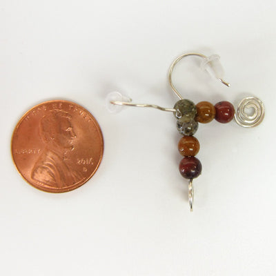 Earthy Colors - Sterling Silver Semi-Precious Jasper Stones with Spiral Earrings - Artisan Jewelry Made in Colorado - Handmade In Conifer