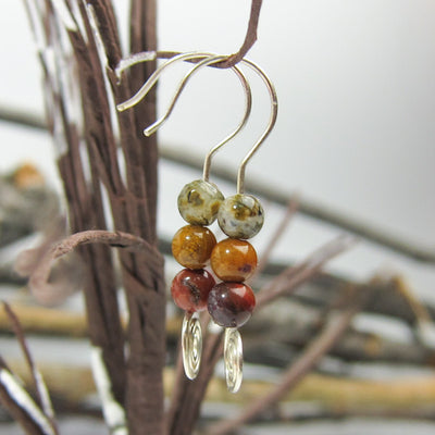 Bohemian Sterling Silver Jasper Stones with Spiral Earrings - Artisan Jewelry Made Locally in Conifer, Colorado