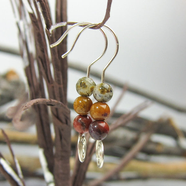 Sterling Silver Jasper Stones with Spiral Earrings - Handmade In Conifer, Colorado