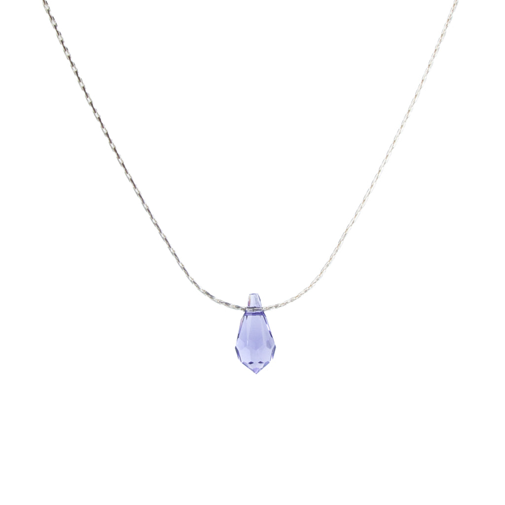 Floating Swarovski Tanzanite Crystal Teardrop